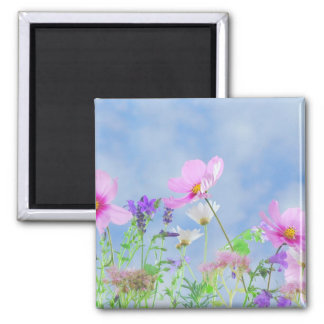 Pretty Flowers in delicate colours Square Magnet