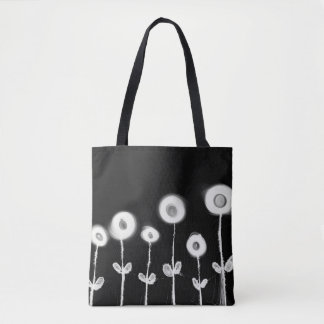 Pretty Flowers in White on Black, Chic Tote Bag