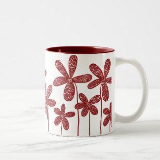 Pretty Flowers - Maroon Two-Tone Mug