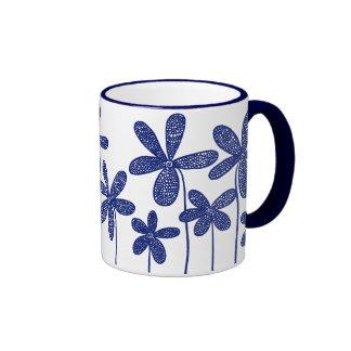 Pretty Flowers - Navy Blue Ringer Coffee Mug