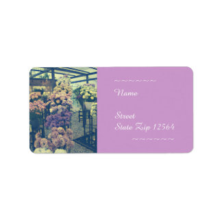 Pretty flowers purple and pink address label