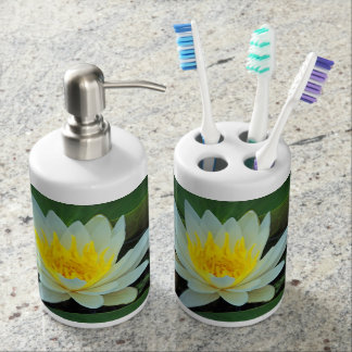 Pretty Flowers Soap Dispenser And Toothbrush Holder