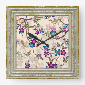 Pretty Flowers Square Wall Clock