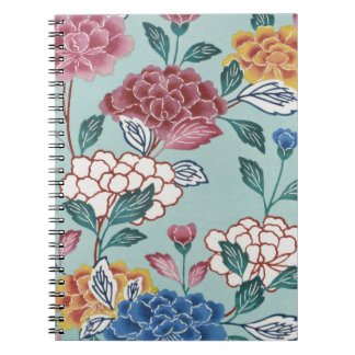 Pretty Flowers Vintage Asian Art Spiral Notebook