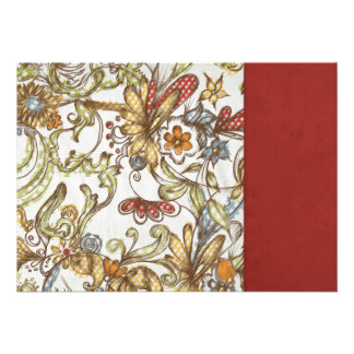 pretty flowers with Red Side Color Invitations