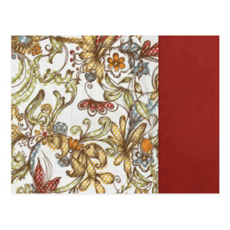 pretty flowers with Red Side Color Postcards