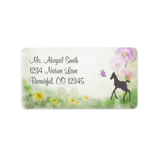 Pretty Foal, Butterfly and Flowers Horse Address Address Label