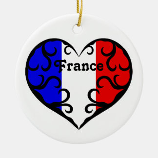 Pretty French heart on white Ceramic Ornament