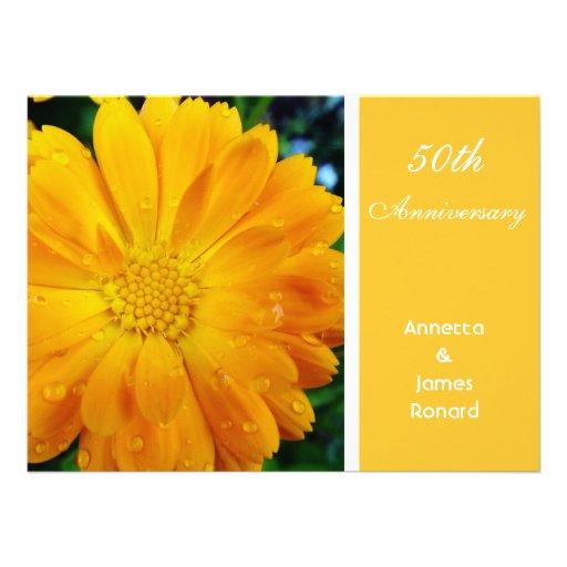 pretty, fresh yellow daisy flower, anniversary invite