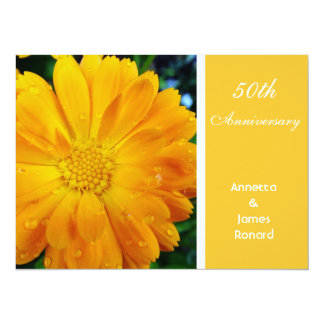 pretty, fresh yellow daisy flower, anniversary 5.5x7.5 paper invitation card