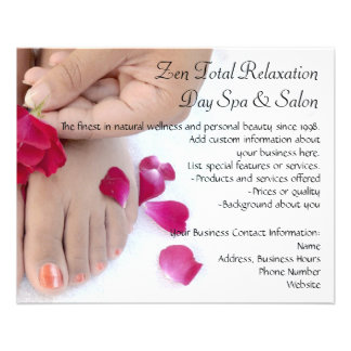 Pretty Fuchsia Pink Rose Pedicure Salon Flyer