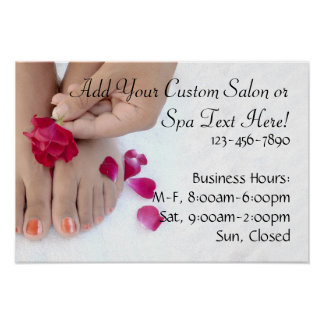 Pretty Fuchsia Pink Rose Pedicure Salon Poster