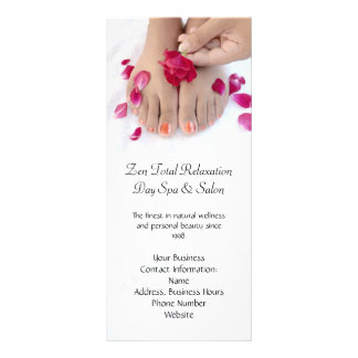 Pretty Fuchsia Pink Rose Pedicure Salon Rack Card