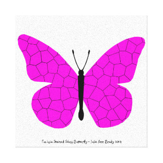 Pretty Fuchsia Stained Glass Butterfly Gallery Wrapped Canvas