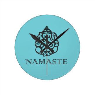 Pretty Ganesh Namaste Blue Design Wall Clock