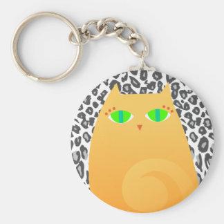 Pretty Ginger Kitty on Snow Leopard - Keychain