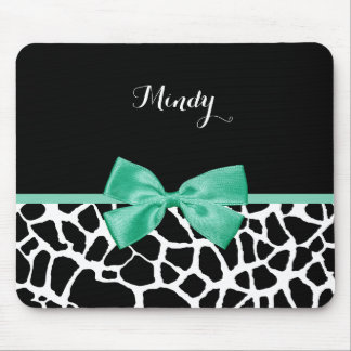 Pretty Giraffe Print Mint Green Bow With Name Mouse Pad