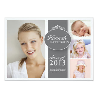 Pretty Girl 4 Photo in Gray Graduation Invitation