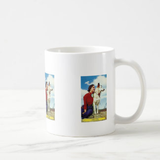 pretty girl and dog iowa casino cafe advetisment coffee mug