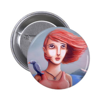 Pretty Girl And Her Bird 6 Cm Round Badge