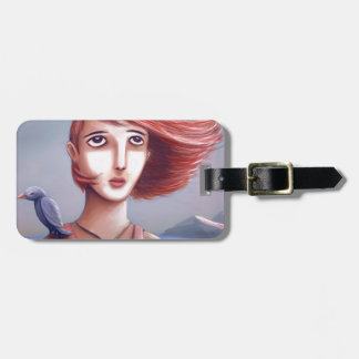 Pretty Girl And Her Bird Luggage Tag