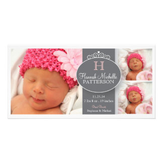 Pretty Girl Baby 3 Photo Monogram Announcement Personalised Photo Card