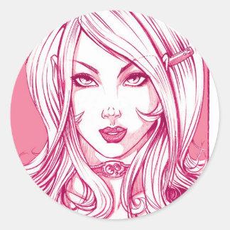 Pretty Girl Face - Pink Classic Round Sticker