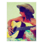 Pretty Girl in Country Hat with Guitar Posters