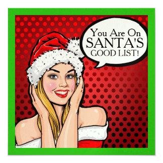 Pretty Girl Retro Pop Art Christmas Invitation