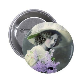 """Pretty Girl with Lilac"" Vintage 6 Cm Round Badge"