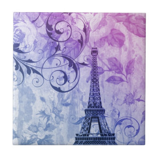 pretty girly chic purple french paris eiffel tower ceramic tile