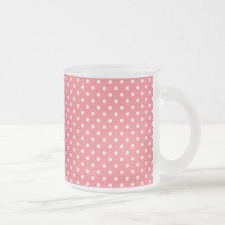 Pretty Girly Cute Pink Polka Dot Design Frosted Glass Mug