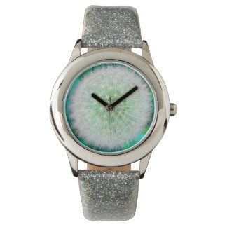 Pretty Girly Dandelion-Clock, blue Wristwatches