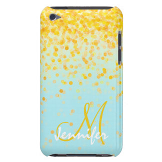 Pretty girly, golden yellow, confetti turquoise om iPod touch cases