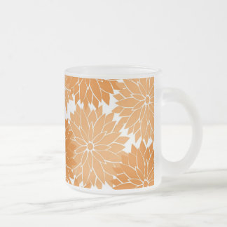 Pretty Girly Orange Flower Blossoms Floral Print Frosted Glass Coffee Mug