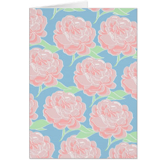 Pretty Girly Pastel Pink and Blue Floral Print Card