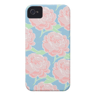 Pretty Girly Pastel Pink and Blue Floral Print iPhone 4 Cover