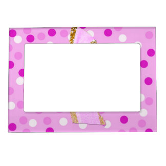 Pretty Girly Pink Bow On Polka Dots Magnetic Frame