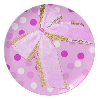 Pretty Girly Pink Bow On Polka Dots Party Plate