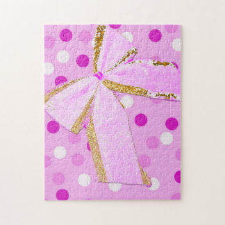 Pretty Girly Pink Bow On Polka Dots Puzzle