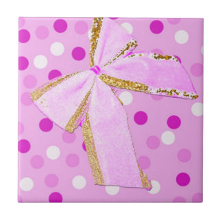Pretty Girly Pink Bow On Polka Dots Tile