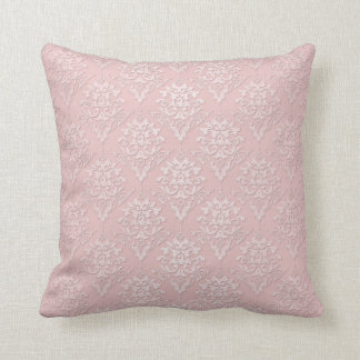 Pretty Girly Pink Damask Pattern Throw Pillow