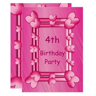 Pretty Girly Pink Hearts Framed 4th Birthday 13 Cm X 18 Cm Invitation Card