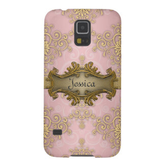 Pretty Girly Pink Yellow Gold Damask Case For Galaxy S5