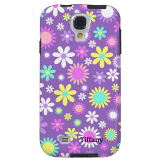 Pretty Girly Purple With Flowers Custom Galaxy S4 Case