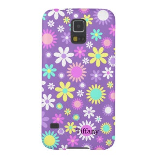 Pretty Girly Purple With Flowers Custom Galaxy S5 Cover