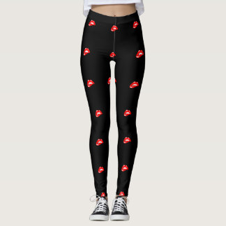 Pretty Girly ,Red Lips ,Black Leggings