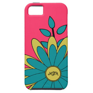 Pretty Girly Retro Flower with Initials iPhone 5 Cases