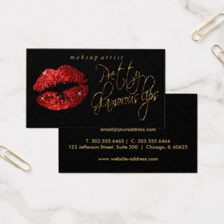Pretty Glamorous Lips - Red Glitter and Gold Business Card