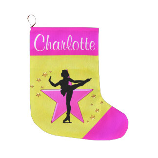 PRETTY GOLD AND PINK PERSONALIZED SKATING STOCKING